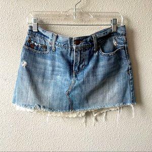 Abercrombie Distressed Denim Skirt W/ Lace Hem 4